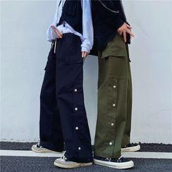 Porstina - Side Buttoned Straight-Cut Cargo Pants