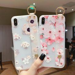 Quivier - Floral Print Phone Case with Strap - Samsung Note 10 / Note 10 Plus / A71 / A51 / M40S / A30 / A20 / A30S / A50 / A50S / S20 / S20 Ultra / S20 Plus