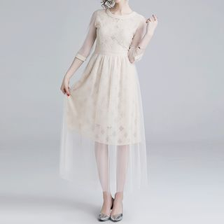 Seire - Elbow-Sleeve Lace Panel A-Line Mesh Dress