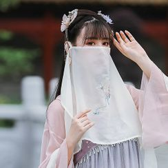 Tangier - Traditional Chinese  Embroidered Chiffon Face Veil