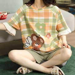 Lion Sniff - Loungewear Set : Short-Sleeve Bear Print Top + Shorts