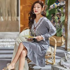 Mayonnaise - Pajama Long-Sleeve Striped Dress