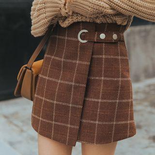 SOMUI - Mini Plaid A-Line Wrap Skirt