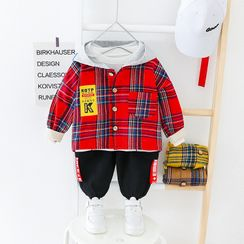 Mini Bae - Kids Set: Plaid Hooded Button Jacket + Pants