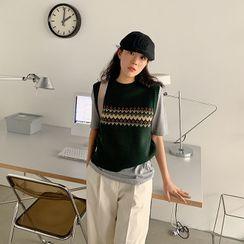 FROMBEGINNING - Crewneck Pattern Knit Vest