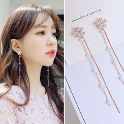 Joodii - Faux Pearl Rhinestone Flower Drop Earring / Clip-On Earring