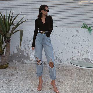 Colada - Cutout Straight-Cut Jeans