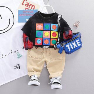 Mini Bae - Kids Set: Long-Sleeve Print T-Shirt + Pants