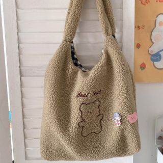 Caraket(カラケット) - Bear Embroidered Fleece Tote Bag