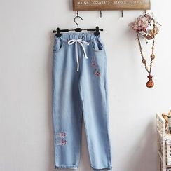 akigogo - Embroidered Straight-Cut Jeans
