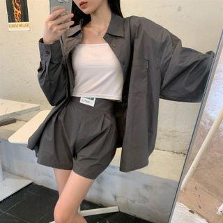 Concerindo - Plain Shirt / Wide-Leg Shorts