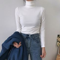 AQUI - 高领纯色窄身长袖上衣