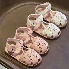 Taemi - Kids Ankle-Strap Perforated Flats