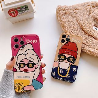 TOLC - Cartoon Print Phone Case - iPhone 12 Pro Max / 12 Pro / 12 / 12 mini / 11 Pro Max / 11 Pro / 11 / SE / XS Max / XS / XR / X / SE 2 / 8 / 8 Plus / 7 / 7 Plus
