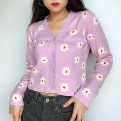 Notica - Floral Print Cropped Cardigan