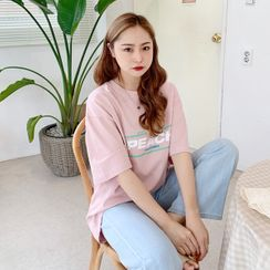 HOTPING - 'PEACH' Letter Boxy T-Shirt