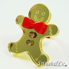 Sweet & Co. - Sweet Mirror Gold Gingerbread Swarovski Crystal Gold Ring