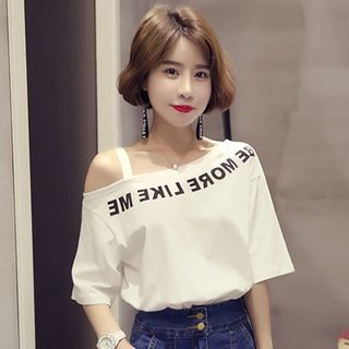 Chogen - Lettering Off Shoulder Short-Sleeve T-Shirt