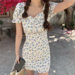 Moon City - 短袖藍莓印花迷你塑身連衣裙