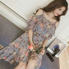 Tiny Times - Cold-Shoulder Floral Midi Chiffon Dress