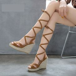 Cinnabelle - Platform Wedge-Heel Gladiator Sandals