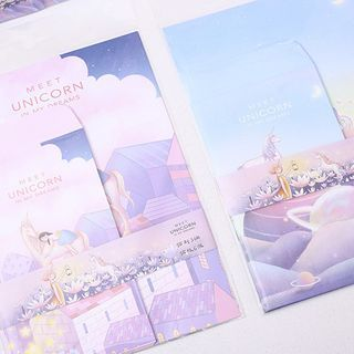 SASHI - Set: Unicorn Print Envelope + Letter Paper