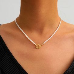 Seirios - Alloy Flower Pendant Faux Pearl Necklace