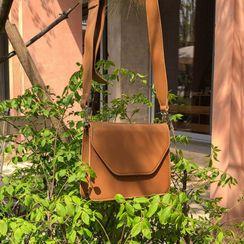 MERONGSHOP - Flap Stitched Pleather Shoulder Bag