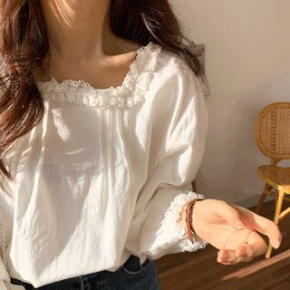 Coris - Long-Sleeve Lace Trim Blouse