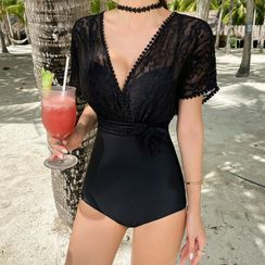 CUCURBIT - Short-Sleeve Lace Swimsuit