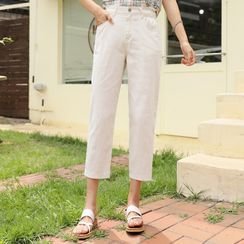 CLICK - Band-Waist Cropped Baggy Pants