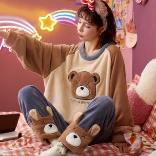 Jeony - 家居服套装: 长袖印花上衣 + 长裤