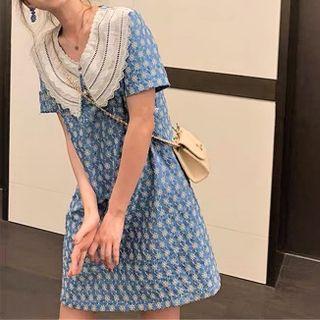 Kukaro - Peter Pan Collar Lace Floral A-Line Dress
