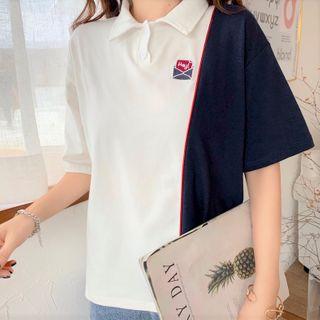 Mushini - Two-Tone Loose-Fit Short-Sleeve Polo Shirt