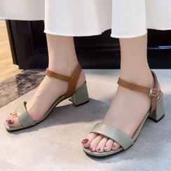 Weiya - 粗跟踝帶涼鞋