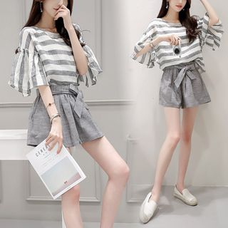 Gray House - Set: Striped Flutter-Sleeve Top + Shorts