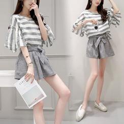 Gray House - Set: Striped Flutter-Sleeve Top + Shorts