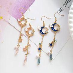 Teeny Trendy - Faux Pearl Faux Crystal Moon Dangle Earring
