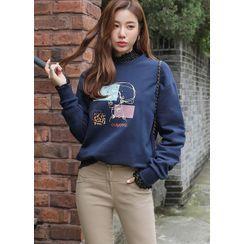 Styleonme - Beaded Printed Sweatshirt