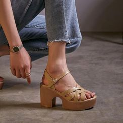 JY Shoes - Platform Block Heel Sandals