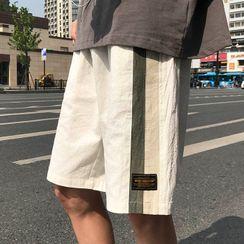 Wescosso - 條紋拼色運動短褲