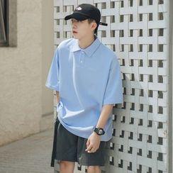 49th Day - Elbow-Sleeve Plain Polo Shirt