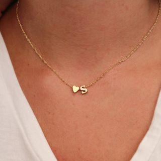 Gemsha - Heart & Letter Pendant Necklace