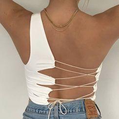 Femme Cradle - One-Shoulder Lace-Up Back Cropped Tank Top