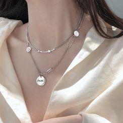 Honne - 925純銀笑臉 / 星星吊墜多層項鏈