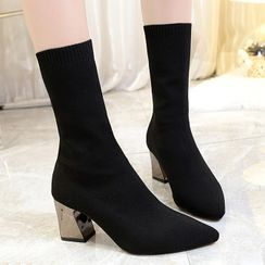 Max Dash - Pointed Chunky-Heel Short Sock Boots