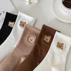 Mimiyu - Set of 3: Bear Embroidered Socks