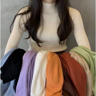 Muezz - Plain Long-Sleeve Mock-Neck Sweater