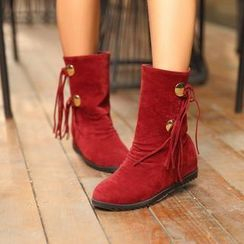 Pretty in Boots - Tassel Hidden Wedge Boots