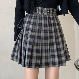 Costana - Set: Plaid Pleated Mini A-Line Skirt + Belt